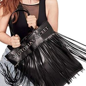 Victoria's Secret Black Pleather Fringe Tote Bag